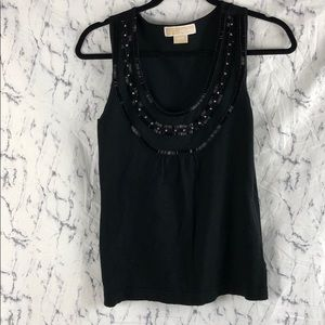 Michael Kors Black Beaded and Rhinestone Tank Top